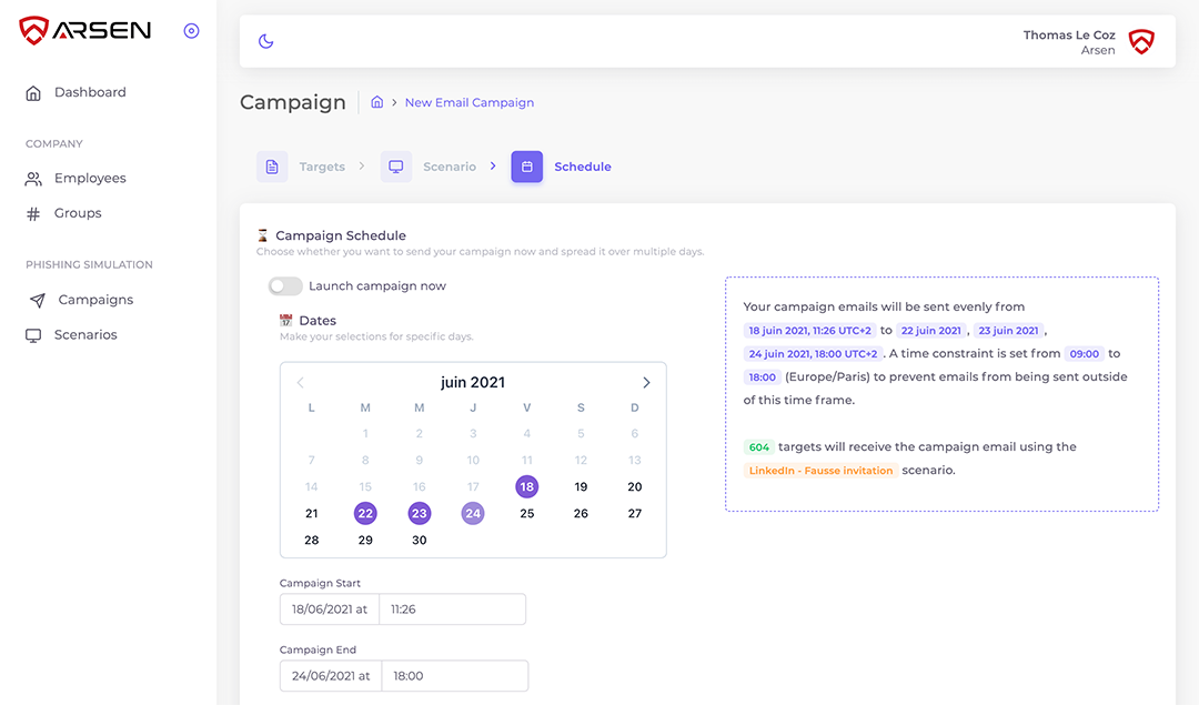 Phishing campaign scheduler